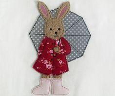 Stickmuster - Hasenmädchen mit Regenmantel und Schirm 10x10 - ein Designerstück von Stickherz bei DaWanda