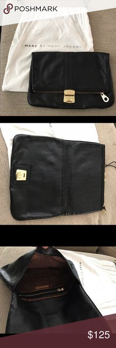 MARC by Marc Jacobs Airliner Clutch. Black leather oversized clutch with gold hardware in perfect condition. New, never used with dust bag. Marc by Marc Jacobs Bags Clutches & Wristlets