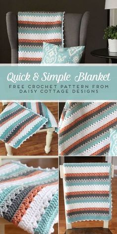 Use this blanket crochet pattern from Daisy Cottage Designs to create a beautiful afghan in any color way. | free crochet pattern, easy crochet pattern, free blanket crochet pattern, granny stripe crochet pattern #crochet #crochetpattern #freecrochetpattern #grannystripecrochet #easycrochet