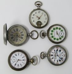 Lot of five pocket watches, early Century. Pocket Watches, Enamels, Manual, Porcelain, Faces, Running, Type, Woman, Accessories