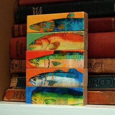 Fish Sticks  Saltwater Fish Art Block Set of 5 by johnwgolden on Etsy