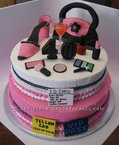 Ultimate 40th Birthday Girly Cake... This website is the Pinterest of birthday cake ideas