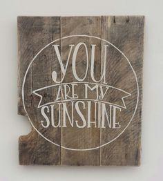 You Are My Sunshine Wall Art Custom Wood by ThePaintedLadiesLoft