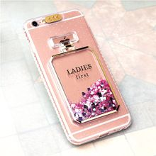 Bling de lujo Quicksand Líquido Perfume Botellas de Coque Llamada Intermitente Para iPhone 7 6 S 6 7 Plus 6/6 s Plus Contraportada Coque(China)