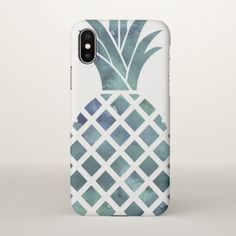 Blue Watercolor Look Pineapple iPhone X Case - diy cyo customize unique special