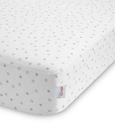 Golly Gray Starry Night Jersey Crib Sheet  GUND