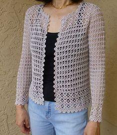 Ravelry: Crochet cardigan pattern by Hitomi Shida (志田 ひとみ) - crochet patterns Crochet Bolero Pattern, Shrug Pattern, Crochet Jacket, Crochet Blouse, Crochet Shawl, Crochet Stitches, Knit Crochet, Knitting Patterns, Crochet Patterns