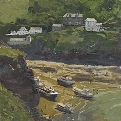 "Peter Brown, my fav new discovery! 134  Towards Doc Martin's House, Port Isaac, 2013 - Oil - 12"" x 12"""