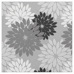 Silver Floral Fabric for Upholstery, Quilting, & Crafts | Zazzle