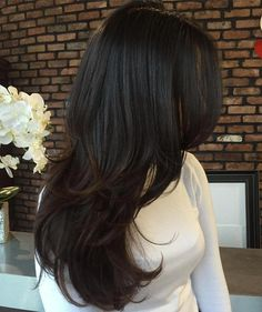 layered hair Trendy Haircut Waterfall Ideas for the Elegant Image Long Brown Hair, Long Hair Cuts, Wavy Hair, Long Hair Styles, Edgy Long Hair, Layered Haircuts With Bangs, Hairstyles With Bangs, Straight Hairstyles, Layered Hairstyles