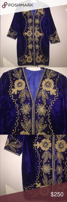 Vintage majestic velvet blue & gold robe Beautiful vintage piece. Hook closures along front. Gold embroidery/beading. Perfect condition. Velvet royal heaven. Fits a small Jackets & Coats