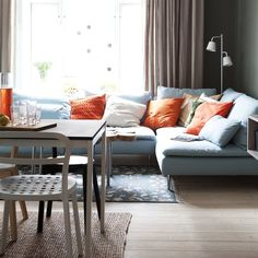 Soderhamn and tons of pillows. Söderhamn Sofa, Ikea Couch, Small Living Room Layout, Small Living Rooms, Living Room Interior, Living Room Decor, Bedroom Decor, Ideas Prácticas, Ikea Home