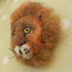 Lion Needle Felted Brooch « Eve Marshall Felt Brooch, Needle Felting, Eve, Lion, Objects, Animals, Leo, Lions, Animaux