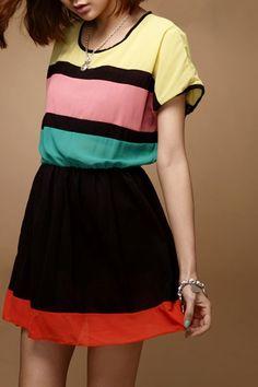 Striped Contrast Colored Short Sleeve Dress OASAP.com