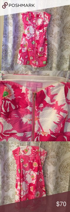 Lilly Pulitzer strapless dress Lilly Pulitzer strapless dress in Cherry Begonia pattern with a zipper down the front and a sweetheart neckline Lilly Pulitzer Dresses Strapless