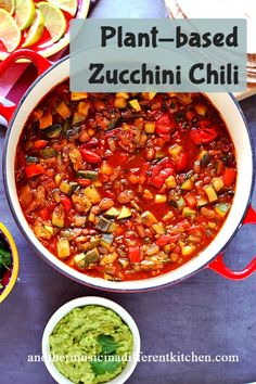 Loaded with zucchini, veggies, and any beans you like, this healthy vegan chili has a unique flavor that's sure to please all your chili-lovers. #anothermusicinadifferentkitchen #veganchili Cooking For Beginners, Recipes For Beginners, Free Recipes, Vegan Recipes, Chili Recipes, Soup Recipes, Whole Food Recipes, Vegan Chili, Vegan Soup