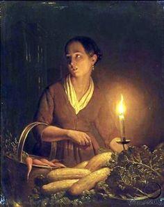 """A Girl at the Night Market,"" Petrus van Schendel"