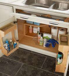 Storage Solutions Details - Sink Base Door Storage - from KraftMaid storage solutions Under Sink Storage, Corner Storage, Door Storage, Storage Rack, Storage Cabinets, Door Shelves, Corner Shelf, Drawer Storage, Storage Ideas