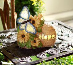 Illuminated Inspirational Garden Stone by Valerie