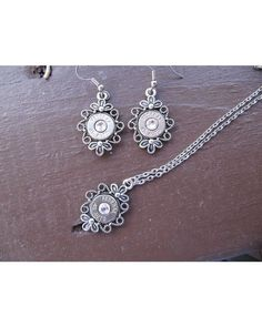Womens 45 Caliber Bullet Filigree Earring and Necklace Set,