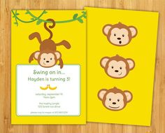 Swinging Monkey Birthday Invitation