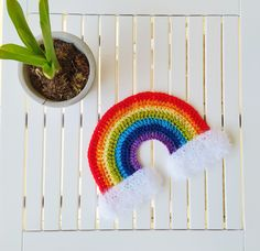 Rainbow – We are Staying Home! Crochet Hooks, Free Crochet, Slip Stitch, Double Crochet, Crocheting, Free Pattern, Crochet Earrings, Projects To Try, Crochet Patterns