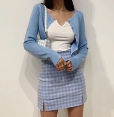 Women Split Details Plaid Mini Skirt with Under Shorts Mini Skort In Blue Adrette Outfits, Indie Outfits, Retro Outfits, Girly Outfits, Cute Casual Outfits, Fashion Outfits, Blue Outfits, Plaid Skirt Outfits, School Skirt Outfits