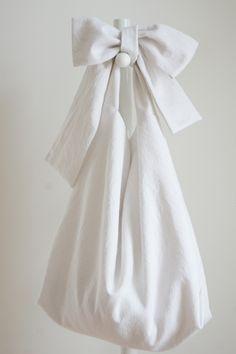 ★new★綿麻リボンのバッグ(ホワイト)