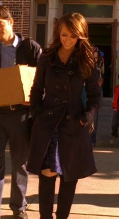 "Melinda Gordon's (Jennifer Love Hewitt) black coat, blue velvet dress, and black knee high boots on Ghost Whisperer Season 2 Episode 15 ""Mean Ghost"""