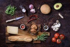 Homemade sandwich with ingredients by Iuliia Leonova on @creativemarket