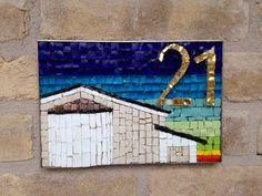 Mosaico numero civico vetro smalto mosaic art arte oro