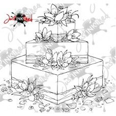 Digital Stamp Wedding Cake Lillies