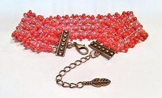 Fushia Hot Pink Beadwork Bracelet  Fushia and Hot by DuMoments
