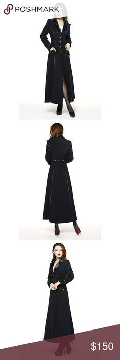 Beautiful Chic Long Military Coat Trendy Style Amazing and stylish  black coat!  Has piping and snap buttons at front.  Fully lined.  More for the evening and Fall weather as it is not super heavy.  Size: 44 (like a US XL). Condition: New  #Goth #Gothic #Steampunk Hot Topic Jackets & Coats Trench Coats