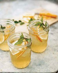 Thai Basil Sangria: Bulletin Place pinot grigio, brandy, orange juice, thai basil-citrus simple syrup, club soda | Food & Wine