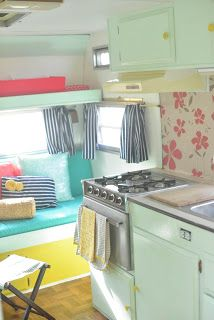 I want a camper! Vintage Camper- way too cute! I want to do this when I have a camper Scamp Camper, Retro Campers, Camper Trailers, Vintage Campers, Travel Trailers, Rv Campers, Happy Campers, Camper Stove, Vintage Camper Redo