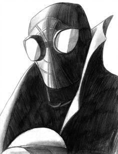 Spider-Man Noir (Spider-Man Into the Spider-Verse) by Noir Spiderman, Spiderman Drawing, Spiderman Art, Chibi Marvel, Marvel Art, Avengers Drawings, Marvel Images, Colored Pencil Artwork, Comic Layout