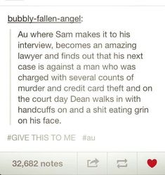 Supernatural AU where Sam becomes an amazing lawyer.featuring the unlawful Dean ^^ Castiel, Supernatural Destiel, Misha Collins, Super Natural, Superwholock, Writing Prompts, Just In Case, Nerdy, Fangirl