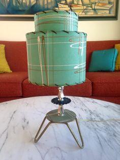 1950's two-tiered fiber glass Aqua shade side lamp