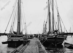 The Stone fishermen of Tolkemit (Tolkmicko / now Poland) on the Baltic Sea. Ships of the stone fishing fleet in the port of Tolkemit. About 1930. Photograph.