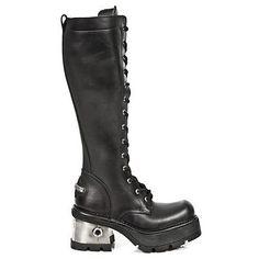 8109abe3db6b6 New Rock Solid Heel Metallic Leather Platform Boots - 236-S1 - Gothic,Goth
