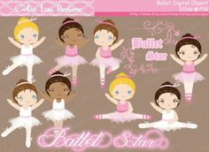 Ballet Clipart Cute girl sport clip art by CeliaLauDesigns on Etsy, $5.00