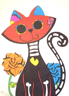 Sugar Skull Cat 9x12 Sharpie Drawing Day of the by ToniTiger415