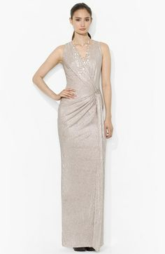Lauren Ralph Lauren Sleeveless Metallic Knit Gown