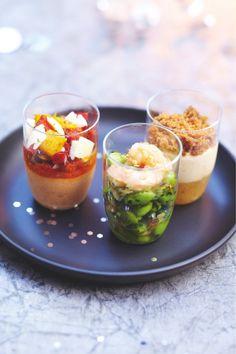 Dans ces verrines tendances, 3 recettes étonnantes qui mêlent foie gras, gingembre, ananas, chorizo... pour une expérience gustative unique...