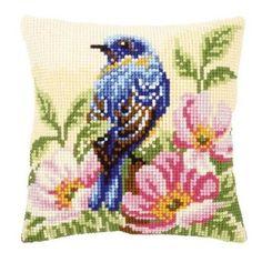 Vervaco Bird on Rose Bush Pillow Cover Needlepoint Kit Cross Stitch Cushion, Cross Stitch Bird, Cross Stitch Designs, Cross Stitching, Cross Stitch Embroidery, Bird Pillow, Needlepoint Kits, Sewing Crafts, Needlework