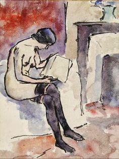 Maurice Asselin. Femme nue lisant Matisse, Watercolor Portraits, Watercolour, Maurice, Girl Reading, Art Forms, Art History, Good Books, Illustration