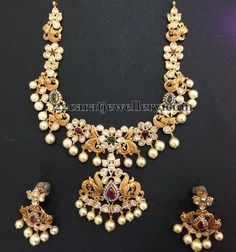 Pachi Floral Set with Golden Peacocks - Jewellery Designs