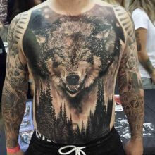 3D Wolf Tattoo in the forest