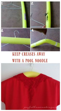 Keep Creases Away with a Pool Noodle